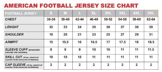 American Football Jersey Size Chart