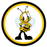 Bee logo with yellow and black circles
